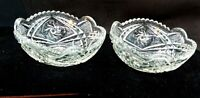 """PAIR OF VINTAGE SM 4"""" CLEAR PRESSED GLASS BERRY DESSERT NUT TRINKET DISHES BOWLS"""