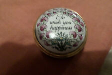 """Halcyon Days enamel.Approx 1"""" diameter.To wish you happiness.Exc. cond."""