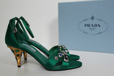 New sz 7 / 37 PRADA Green Satin Open Toe Jeweled Crystal Heel Ankle Sandals Shoe