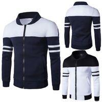 Mens Slim Fit Casual Warm Fleece Pullover Long Sleeve Sweater Jacket Coat Jumper