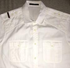 Auth $750 GUCCI White MILITARY WEB Epaulette Button Down S/S Collar Shirt L-XL