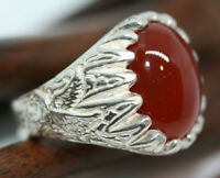 Heavy Carnelian 10 ctw Agate Man Men's Ring 925 Sterling Silver SZ 9.75 US Made