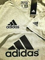 Adidas t shirt Men's Gray black print sleeve, small front & Large back shirt usa