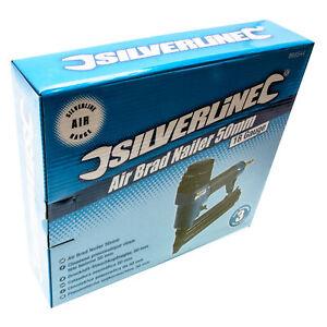 Silverline Air Brad Nailer Nail Gun and 5,000 50mm Galvanised Smooth Shank Nails