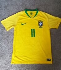 Brazil Home Soccer Jersey #11 P. Coutinho 2018 world cup Small Football