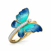 Charm 18K Yellow Gold Enamel White Topaz Butterfly Ring Women Wedding Jewelry