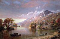 Lake George by Jasper Francis Cropsey. Landscape Art choose Canvas or Paper