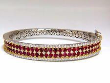 8.00ct natural round cut ruby diamonds bangle bracelet 14kt+