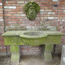 Becken mit Männerkopf, Gartenbrunnen, Brunnen,Natursteinbrunnen, Steinbecken,