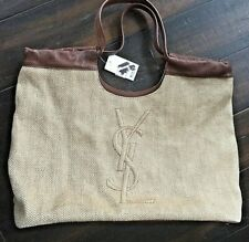 Auth NWT Yves Saint Laurent YSL Leather & Raffia Summer Tote