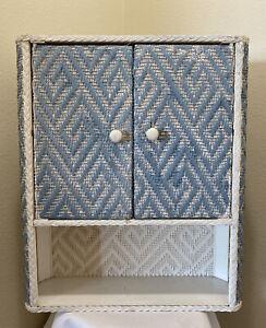 "Vintage Wicker Rattan Wall Shelf Cabinet 23"" 2 Door White Blue Shabby Boho MCM"