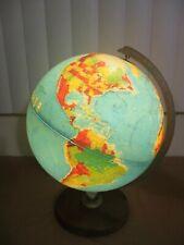 "Vtg Replogle 12"" World Horizon Series Light Globe Lamp Illuminated Textured USSR"