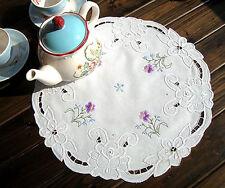 Elegant Rose Ribbon Embroidery Purple Flower Hemstitch White Cotton Topper Doily