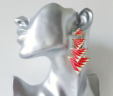 Gorgeous 8cm long red, white & gold coloured layered geometric drop earrings
