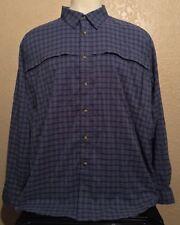 LL Bean Men's Sz 2XL Blue Vented Coolmax Polyester Long Sleeve Hiking Shirt XXL