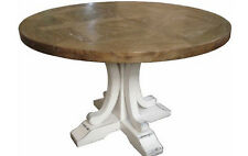 RUSTIC FRENCH PROVINCIAL ROUND PEDSTAL DINING TABLE PARQUETRY RECYCLED ELM 120CM