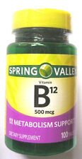 Spring Valley Vitamin B12 Tablets Pills, 500 mcg, 100 count Energy