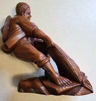 Vintage Japanese Oriental Carved Wood Fisherman Pulling Net Figurine