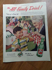 1953 7up Soda Pop Bottle Ad All the Kinfold to Greet Old Style Family Reunion