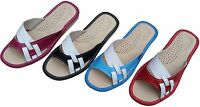 Womens Leather Sandals Slippers Mules Slip On Natural Flats Beach Shoe Size 3 -8