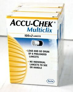 3 Accu-Chek Multiclix 100+2 Lancets Roche SEALED Unopened EXPIRED 10-2019