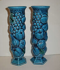 Vintage Mid 1970's Inarco Blue Indigo Fruit Set of Tall Thin Footed Vases E3096
