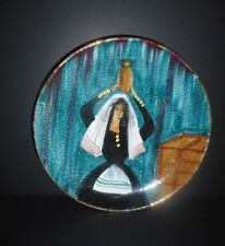 Vintage Mid Century Modern Hand Painted Italy Pottery Wall Plate ChargerPeasant