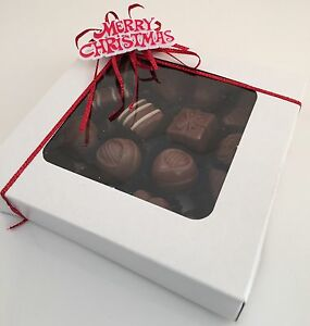 Pack Of 5 PETIT FOUR White Window Sweet Cake Boxes Christmas CHOCOLATES Truffles