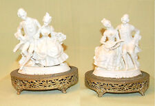 Antique ONE PAIR DRESDEN WHITE PORCELAIN VICTORIAN FIGURINE TABLE LAMP BASE