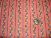 """Vintage Cotton Fabric BLUE/WHITE/YELLOW FLORAL STRIPE ON PINK 23""""/44"""" Wide"""
