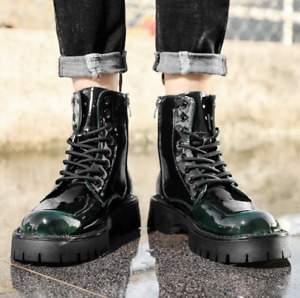 Mens Shoes Patent Leather High-top Platform British Casual Round Toe Chic Laces