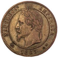 Piece 10 centimes Napoléon III tête laurée 1863A #612