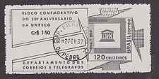 Brazil Sc 1027a used 1966 Unesco Souvenir Sheet, Vf