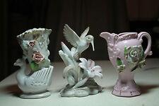 lot 3 old Hummingbird flower figurine. white swan bird vase pink roses