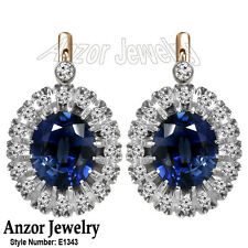 14k Solid Rose & White Gold Created Sapphire Diamond Russian Jewelry Earrings