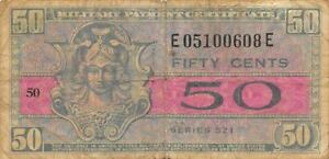 USA / MPC  50  Cents  1952  Series  521  Plate  50  Circulated banknote M2