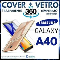 Coque Transparent +Film Verre Trempé pour Samsung Galaxy A40 TPU A 40