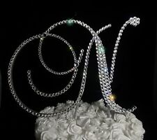 "Handmade Clear Crystals 5"" Wedding Cake Topper Monogram Letter ""N"""