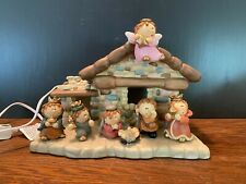 Lighted Ceramic Christmas Nativity 7 Piece Set Baby Jesus Children Manger Stable