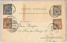 TUNISIA -  POSTAL HISTORY -  STATIONERY CARD to SWITZERLAND - ADDED STAMPS 1896