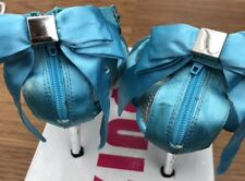 Prom/Wedding/Races Size 5 QUZ. Blue turquoise With Bow Beautiful Slim Heel Shoes