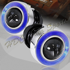 "3"" Round Blue Halo Projector Glass Lens Fog Driving Lights Lamps Kit Universal 3"