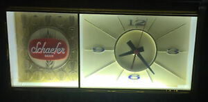 VINTAGE SCHAEFER BEER ADVERTISING LIGHTED CLOCK EXCELLENT WORKING CONDITION 60s