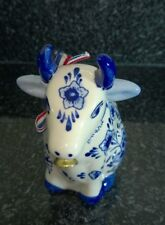 Vintage Delft Ware Blue & White Cow Cream Milk Jug with Ribbon and Bell Collar