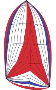 Spinnaker, asymmetrical, luff 45-3,leech 42-1,foot 24-1, Maxlite 150 red,wht,blu