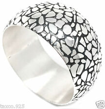 Cobblestone Motif Bangle Bracelet Mexico Taxco Mexican Sterling Silver Textured