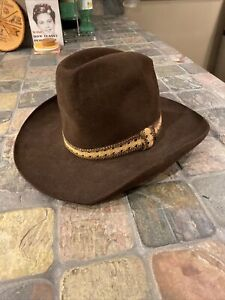 Vintage Stetson Brown Felt Cowboy Western Hat Size 7