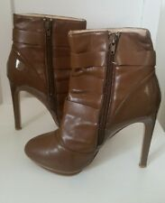 justfab womens brown ankle boots size 7 pointed toe stiletto heel faux leather