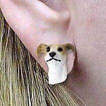 Greyhound Tan & White Earrings Post