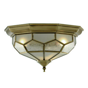 Searchlight 2 Light Antique Brass Flush Fitting Ceiling Light With Glass Panels
